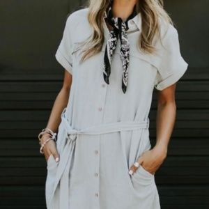 ROOLEE Jefferson Linen Midi shirtdress